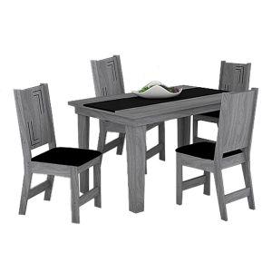 Conjunto Sala de Jantar Atrativa Mesa mais 4 Cadeiras Noroesty Móveis Teka