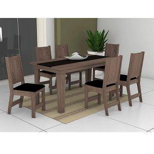 Conjunto Sala de Jantar Atrativa Mesa mais 6 Cadeiras Noroesty Móveis Capuccino