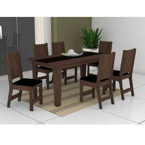 Conjunto Sala de Jantar Atrativa Mesa mais 6 Cadeiras Noroesty Móveis Chocolate