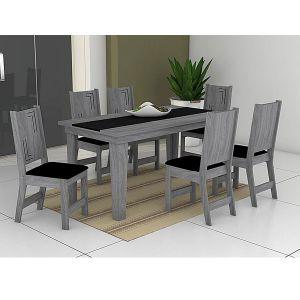 Conjunto Sala de Jantar Atrativa Mesa mais 6 Cadeiras Noroesty Móveis Teka