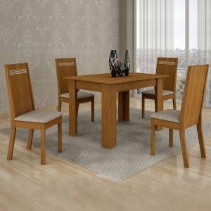 Conjunto Sala de Jantar Mesa 4 Cadeiras Ouro Preto 120cm Cel Móveis Nogueira