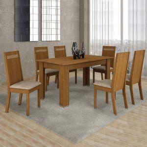 Conjunto Sala de Jantar Mesa 6 Cadeiras Ouro Preto Cel Móveis Nogueira
