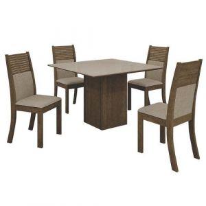 Conjunto Sala De Jantar Mesa Napoli Com 4 Cadeiras Havaí Leifer Ypê/off White