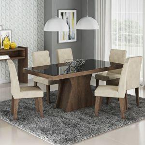 Conjunto Sala de Jantar Mesa Olívia 6 Cadeiras Cimol Marrocos