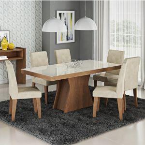 Conjunto Sala de Jantar Mesa Olívia 6 Cadeiras Cimol Savan