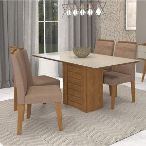 Conjunto Sala de Jantar Mesa Rafaela 4 Cadeiras Cimol Savana/ Off White
