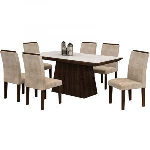Conjunto Sala de Jantar Mesa Tampo em Vidro 6 Cadeiras Sevilha Cel Móveis Malbec