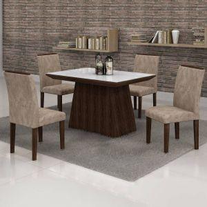 Conjunto Sala de Jantar Mesa Tampo em Vidro 4 Cadeiras Sevilha Cel Móveis Malbec
