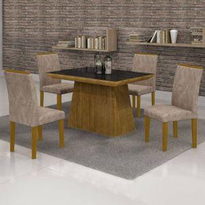 Conjunto Sala de Jantar Mesa Tampo em Vidro 4 Cadeiras Sevilha Cel Móveis Ypê