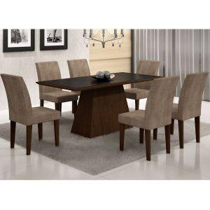 Conjunto Sala de Jantar Mesa Tampo Vidro/MDF Preto Luna 6 Cadeiras Rufato Castor