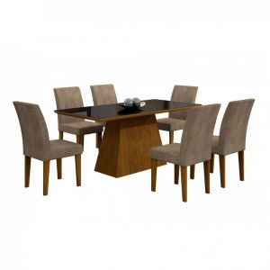Conjunto Sala de Jantar Mesa Tampo Vidro/MDF Preto Luna 6 Cadeiras Rufato Imbuia
