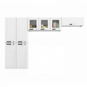 Cozinha Colormaq Paraty Glass 3 Peças em Aço Branco Paneleiro 4 Portas, Armário de Parede e Basculante