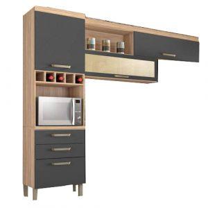 Cozinha Compacta 3 Peças Condessa Nesher Móveis Grafite/Madeirado