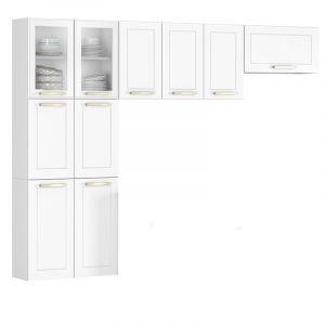 Cozinha Compacta Itatiaia Lara Class  3 peças duas portas com Vidro Aço Branca