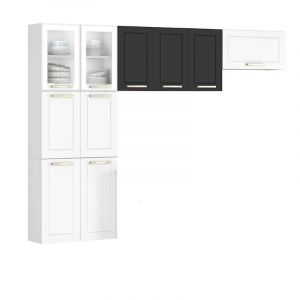 Cozinha Compacta Itatiaia Lara Class  3 peças duas portas com Vidro Aço Branca/Preta