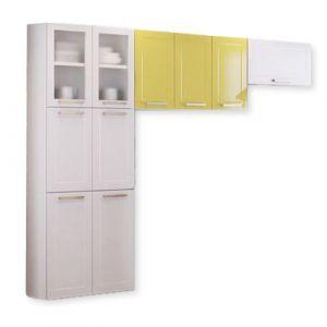 Cozinha Compacta Itatiaia Lara Class  3 peças duas portas com Vidro Aço Branca/Amarelo