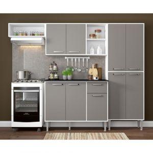 Cozinha Compacta Multimóveis Xangai 9 Portas e 1 Gaveta Branco/Laca Fumê