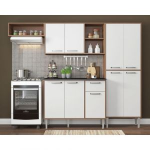 Cozinha Compacta Multimóveis Xangai 9 Portas e 1 Gaveta Nogueira/Branco