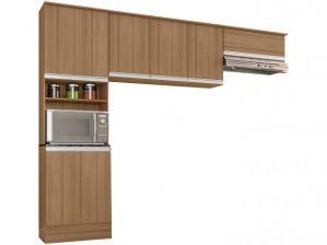 Cozinha Compacta Poliman Paris 3 Peças Carvalho/Off White