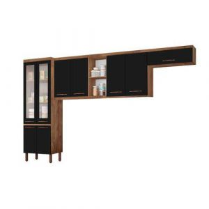 Cozinha Compacta Tuboarte Ágata 9 Portas Amêndoa/Preto