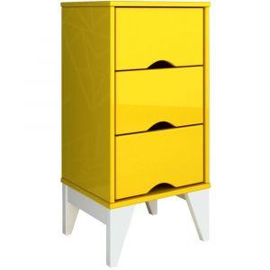 Criado Mudo 3 Gavetas Twister Tcil Móveis Amarelo