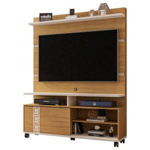 Estante Home para TV até 52 Polegadas com Rodízios Pérola Móveis Bechara Cinamomo / Off White