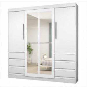 Guarda Roupa Araplac Atraente 4 Portas e 6 Gavetas com Espelho Branco