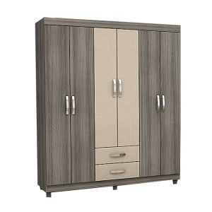Guarda Roupa Josan Light 6 Portas, 2 Gavetas - Nogal Sand