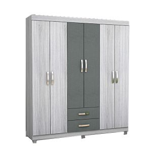 Guarda Roupas Josan Light 6 Portas, 2 Gavetas - Grey Pallore