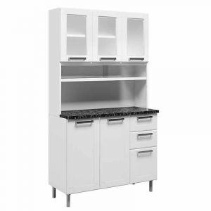 Kit Cozinha Compacta Bertolini 6145 Múltipla com 8 Portas 2 Gavetas em Aço Branco