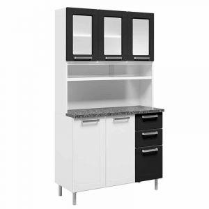 Kit Cozinha Compacta Bertolini 6145 Múltipla com 8 Portas 2 Gavetas em Aço Preto/Branco