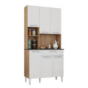 Kit de Cozinha 6 Portas 1 Gaveta Tannat Móveis Ronipa Castanho/Branco