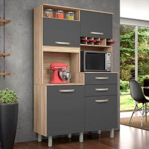 Kit de Cozinha Nesher Junior 4 Portas 2 Gavetas Cedro/Grafite