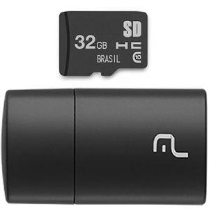 Leitor USB Multilaser com Cartão de Memória Classe 4 32GB MC163