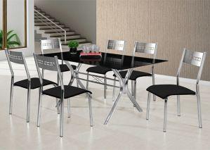 Mesa Aço Nobre Turim 6 Cadeiras Cromada com Tampo de Vidro