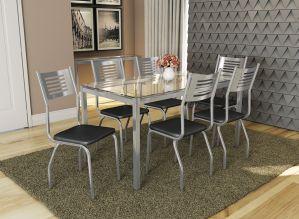 Mesa de Jantar com 6 Cadeiras Retangular com Tampo de Vidro Kappesberg Crome CMC076CR-110
