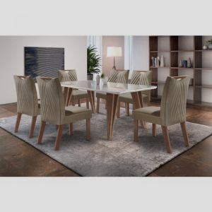 Mesa de Jantar Hera com 6 cadeiras Castanho Tampo Off White