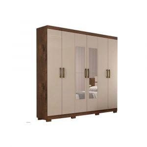 Roupeiro Panan Clara Flex 6 Portas e 3 Gavetas com Espelho Café/Off White