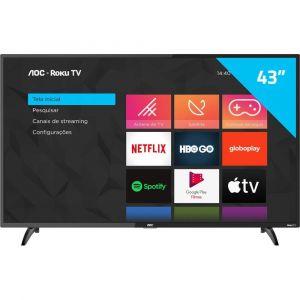 Smart TV AOC Roku TV LED 43 43S5195/78 com Wi-Fi, Milhares de Apps, App Roku Mobile, Miracast, Entradas HDMI e USB