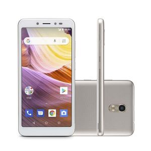 Smartphone Multilaser MS50G 3G Dourado/Branco NB731 Tela 5.5 Android 8.1 Quad Core 1GB RAM