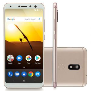 Smartphone Multilaser MS80 3GB RAM + 32GB Tela 5,7 HD+ Android 7.1 Qualcomm Dual Câmera 20MP+8MP Dourado NB723