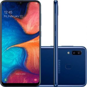 Smartphone Samsung Galaxy A20 32GB Dual Chip Android 9.0 Tela 6.4 Octa-Core 4G Câmera Dupla 13MP + 5MP Azul