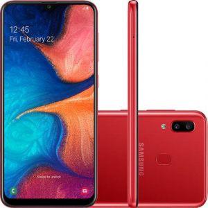 Smartphone Samsung Galaxy A20 32GB Dual Chip Android 9.0 Tela 6.4 Octa-Core 4G Câmera Dupla 13MP + 5MP Vermelho