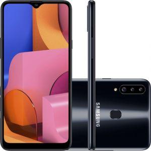 Smartphone Samsung Galaxy A20s 32GB Dual Chip Android 9.0 Tela 6.5 Octa-Core 1.8 GHz 4G Câmera Tripla 13.0 MP + 5.0 MP + 5.0 MP(UW) - Preto