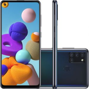 Smartphone Samsung Galaxy A21s 64GB Dual Chip Android 10 Tela 6.5 Octa-Core 4G Câmera Quádrupla 48MP+8MP+2MP+2MP Preto