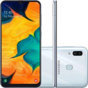 Smartphone Samsung Galaxy A30 64GB Dual Chip Android 9.0 Tela 6.4 Octa-Core 4G Câmera 16MP + 5MP Branco