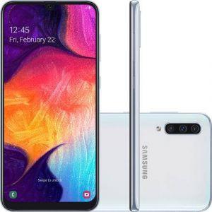 Smartphone Samsung Galaxy A50 64GB Dual Chip Android 9.0 Tela 6.4 Octa-Core 4G Câmera Tripla 25MP + 5MP + 8MP Branco