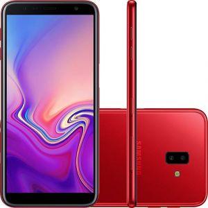 Smartphone Samsung Galaxy J6+ 32GB Dual Chip Android Tela Infinita 6 Quad-Core 1.4GHz 4G Câmera Dupla 13+5MP Vermelho
