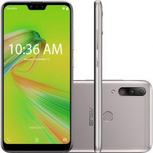 Smartphone Zenfone Asus Max Shot 64GB RAM 4 GB Dual Chip Android Oreo Tela 6,2 Qualcomm QSP SIP1 4G Câmera tripla 12MP+5MP+8MP Prata