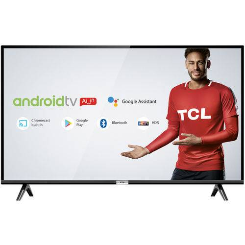 Smart TV LED 32 Android TCL 32S6500 HD com Conversor Digital Wi-Fi Bluetooth 1 USB 2 HDMI Controle Remoto com Comando de Voz Google Assistant
